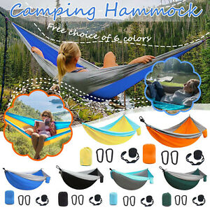 Camping Double & Single Portable Hammocks With 2 Tree Straps Lightweight Nylon