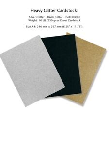 A4 Glitter Heavy Cardstock: 10 Sheets per Pack - Silver Black Gold 250 gsm