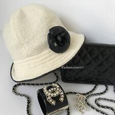 NEW SUPER CHIC CHANEL WHITE BLACK CAMELLIA FLOWER CAP HAT 57