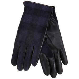 Burberry Men's Check Wool And Leather Touch Screen Gloves, Brand Size 7.5