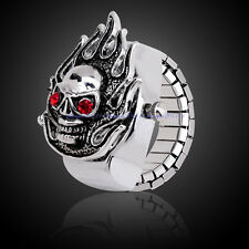 Fashion Metal Ghost Rider Skull Skeleton Head Analog Quartz Finger Ring Watches