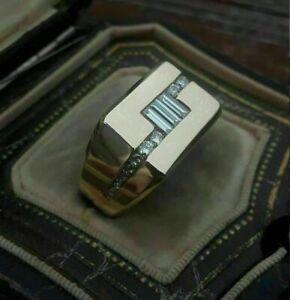 Men's Engagement & Wedding Modernist Ring 14K Yellow Gold Plated 1.62 Ct Diamond