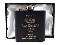 Personalised *BLACK* JACK DANIELS Hip Flask Gift 18th/21st/30th/40th Birthday
