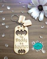 Personalised Wooden Keyring, Superhero, Daddy, Dad, Grandad, Gifts, Christmas