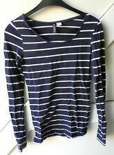 Divided Damen Langarmshirt Shirt Baumwolle Elasthan blau gestreift  Gr. 36