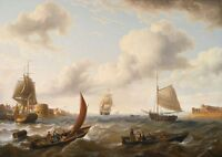 """oil painting handpainted on canvas """"Ships off the Coast in Choppy Seas """"@N5867"""