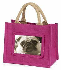 Cute Pug Dog Little Girls Small Pink Shopping Bag Christmas Gift, AD-P90BMP