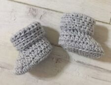 Handmade Crocheted Baby Boy/Girls Cuffed Booties 0-3 Months. Soft Silvery Grey