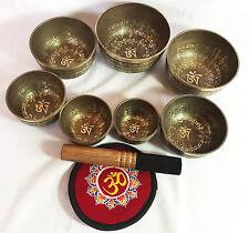 Steps and Full Buddha Jaap Mantra Carved 7 Bowl Chakra Set Kasha Singing Bowl