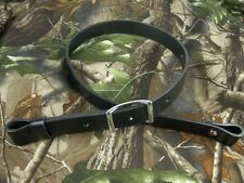 "200-02_LEATHER RIFLE GUN SLING_Amish_Handmade_1""_adj. 30"" to 42""_BLACK"