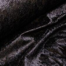 Black Crushed Velvet Velour Fabric - Gothic - Bridal - Christmas (Per Metre)
