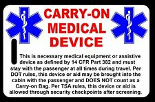 Carry-On Medical Device  Bag Tag - TSA - CPAP BiPAP APNEA POC