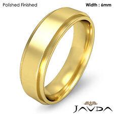 Men Wedding Plain Band Flat Step Solid Ring 6mm 18k Yellow Gold 8.8g 11-11.75