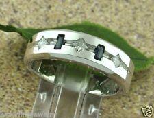 0.63 ct 14k Solid White Gold men's Baguette Sapphire & Princess Cut Diamond Ring