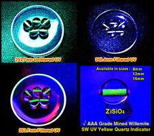 SW UV Ultraviolet Quartz Indicators 12mm ULTRA-GREEN Natural Gem Willemite