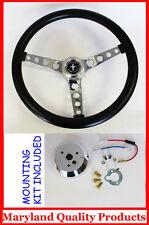 "1965-1969 Ford Mustang GT Retro Steering Wheel Black 14 1/2"" Hi-Rise Mustang cap"