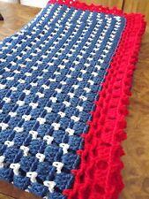 Handmade NEW  Crochet Afghan Red White & Blue Americana 61x61in Box Stitch Throw