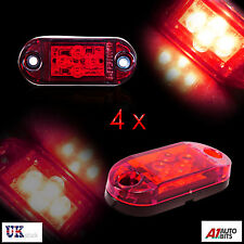 4 Pcs Red 12v 4 Led Rear Tail Side Marker Lights Lamps Truck Trailer Bus Dot