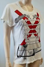 MCQ ALEXANDER MCQUEEN White Cotton Red & Black Printed T-Shirt Tee Top XS