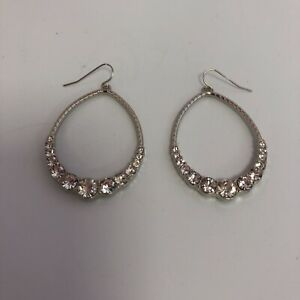New Oval Hoop Earrings 5cm Silver Metal Sparkly Diamante Occasion Party 261257