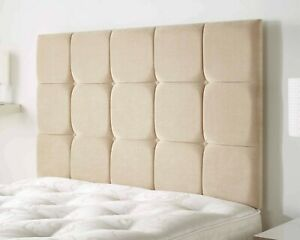 Deluxe Upholstered Linen Fabric Cubes Button Tufted Divan Bed Head Headboard