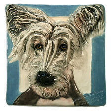 Chinese Crested Hairless Ceramic Dog Tile bas-relief 3d handmade Alexander Art