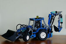 Unique Lego Creator Technic 8455 Pneumatic Backhoe Loader recreated in blue 2017