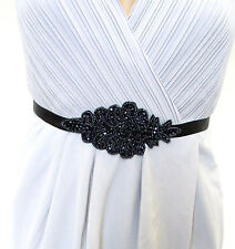 Dark Navy Blue Black Beaded Belt 1920s Flapper Dress Great Gatsby Vintage 1027
