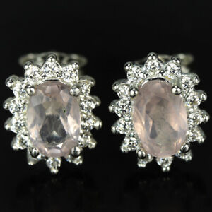 NATURAL AAA ROSE QUARTZ OVAL & WHITE CZ STERLING 925 SILVER STUD EARRING