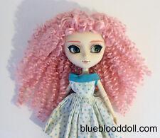 "For Pullip 9-10"" doll head pink curly long wig Soom Feeple Loongsoul ship US"