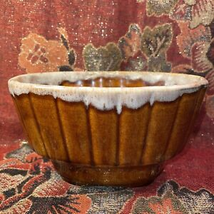 "Vintage Hull Planter Vase Oval Brown Drip Glaze USA 719  6.75 X 4.5 X 4"""