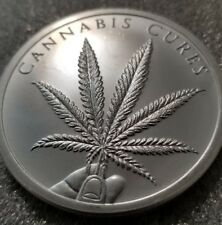 Cannabis Cures 2 OZ .999 Silver Shield weed mary jane Marijuana pot limited 2018