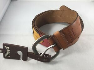 """NEW FOSSIL Mens Leather Belt ~ $30 Red Green Blue Gold Brown 39.5"""" Strap 3215"""