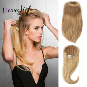 """15-26"""" Straight Weft 100% Remy Human Hair Half Wig for 3/4 Half head All Colors"""