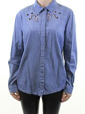 MISS SELFRIDGE medium blue wash denim floral cut out embroidered shirt size 14