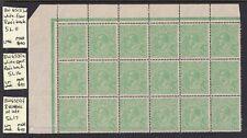 1918 KGV LM watermark, 1/2d Green, Top sheet Block of 18, 3 x varieties, MUH