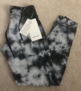 NWT Lululemon Size 4 Warm Down Jogger Pant ESCO Grey Black Tie Dye