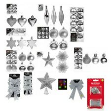 Silver Christmas Tree Ornaments Hanging Baubles Star,Heart,Drops,Bows Xmas Decor