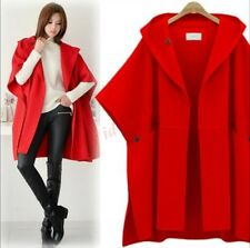 Chic Womens Sleeveless Trench Coat Hooded Cape Wool Blend Cloak Outwear Loose