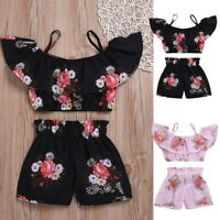 Summer Toddler Kids Baby Girls Floral Suspenders Tops +Shorts Outfit Set Clothes