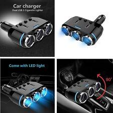 12V-24V 3 -Ways Car Cigarette Lighter Socket Splitter LED Light Switch+Dual USB