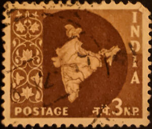 Stamp India SG377 1958 3NP Map of India Used