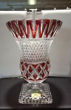 Vintage Ruby/Clear Pbo Lead Crystal Vase  Western Germany 9 3/8 Inches Tall