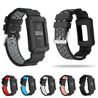 Sport Silicone Rugged Band With Shockproof Protector Case for Fitbit Charge 3