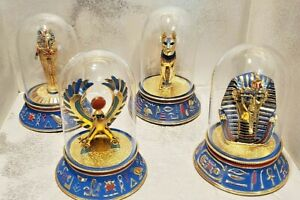 The Franklin Mint Limited Edition Egyptian Figurines under Glass Domes