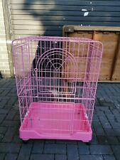 Large Pink metal bird cage on wheels - folds flat for storage