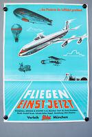 Kino Film Plakat Fliegen Einst und Jetzt 1956 Poster DIN A1 Top Zustand