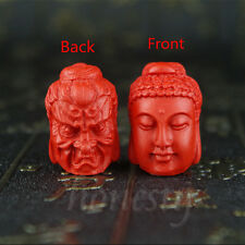 Natural Red Cinnabar Carved Buddha Head pendant Double-Sided Bead DIY Necklace