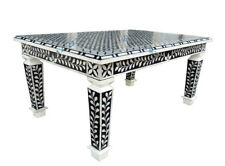 Bone Inlay Floral Design Rectangle Coffee Table Black & White