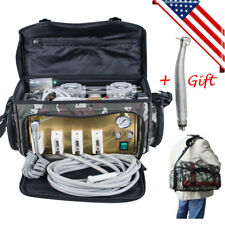 USA Portable Dental Turbine Unit 4 Hole Air Compressor Suction 3 Way Syringe Bag